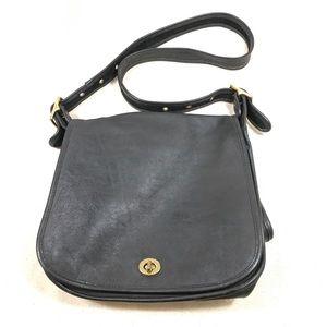 Coach Black Leather Crossbody Bag Purse USA 9525